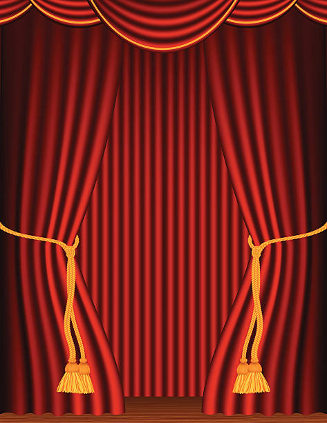 Empty Red Stage Curtains With Tieback And Wood Floor Vector Art Illustration