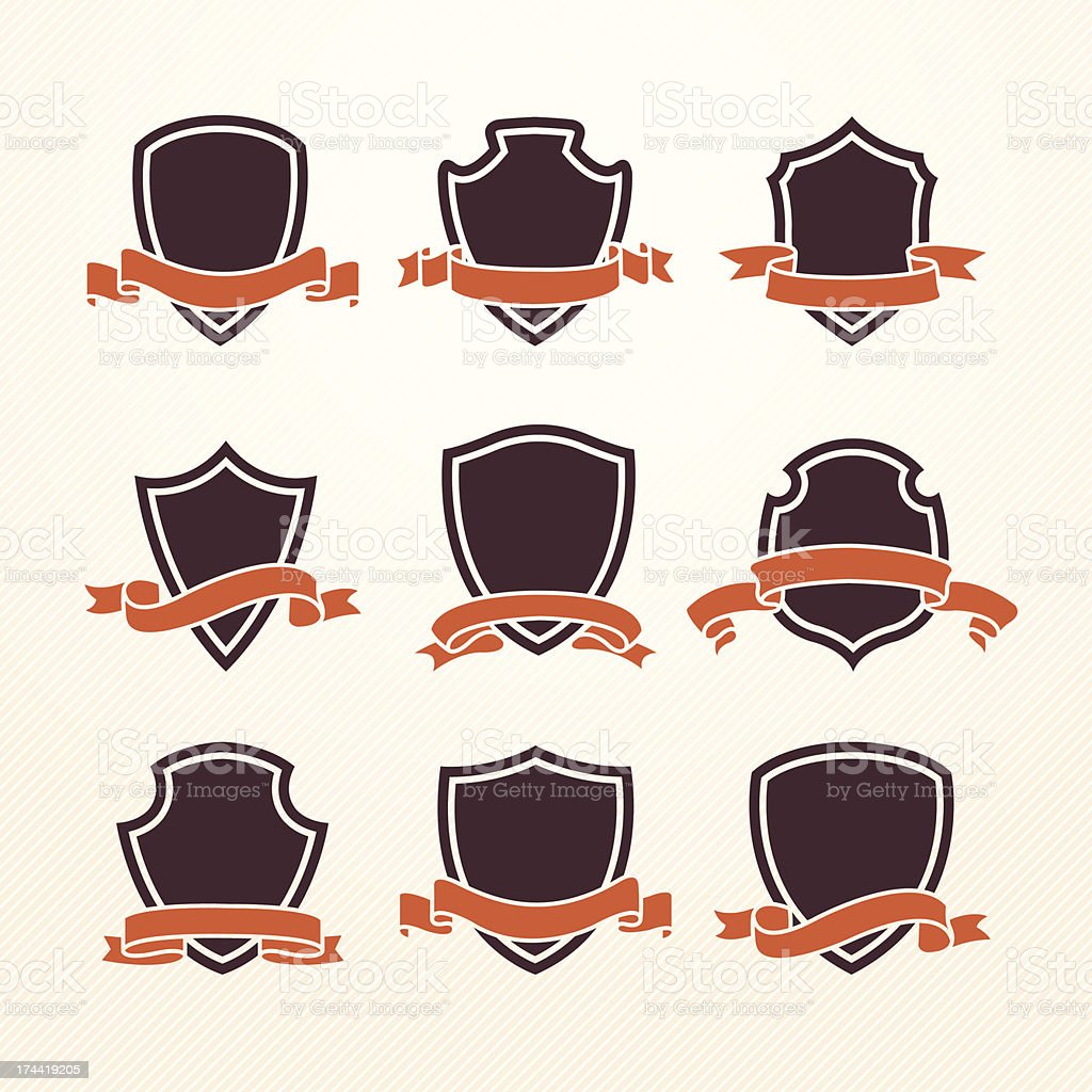 Empty retro brown shields with ribbon coat and arm vector art illustration
