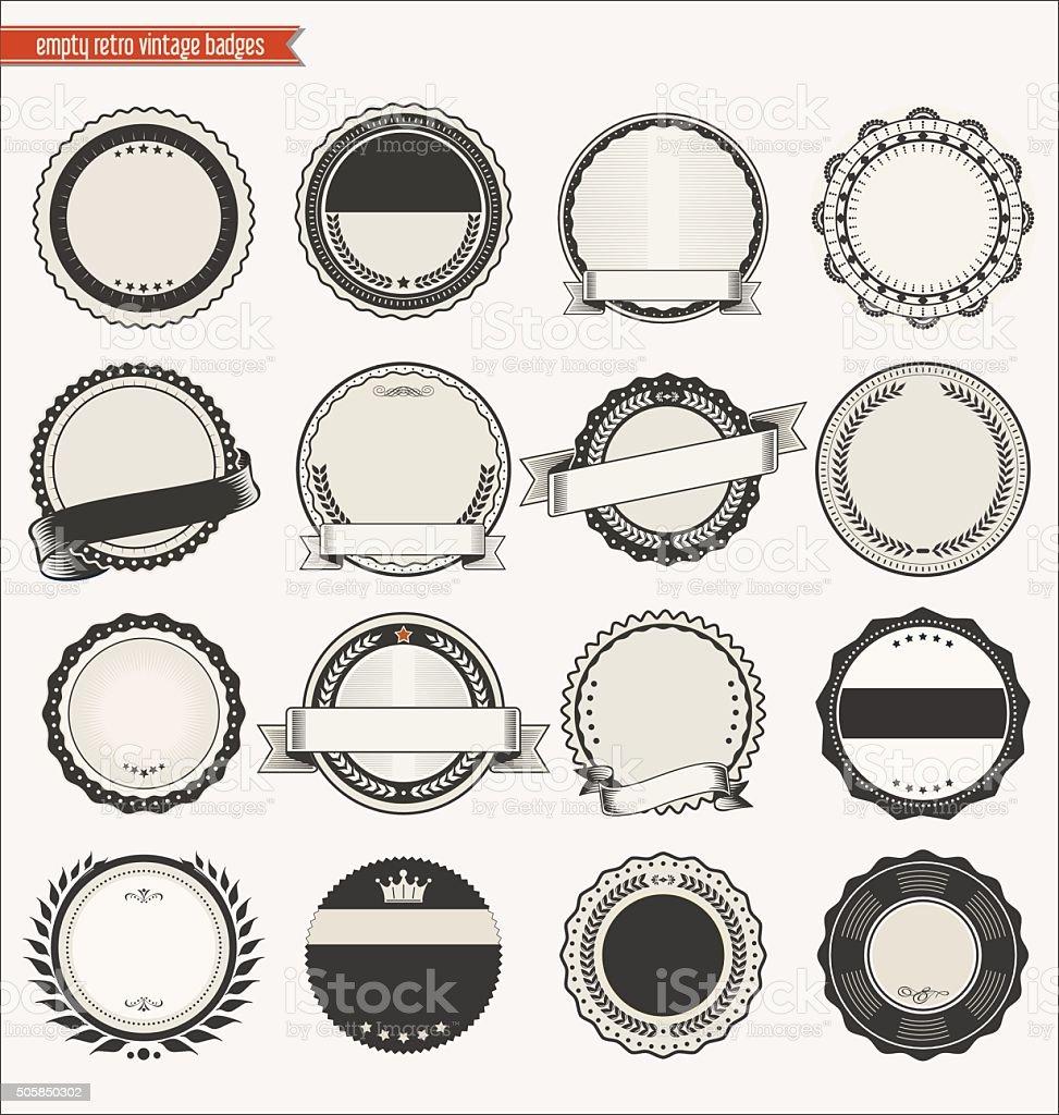 Empty retro vintage badges collection vector art illustration