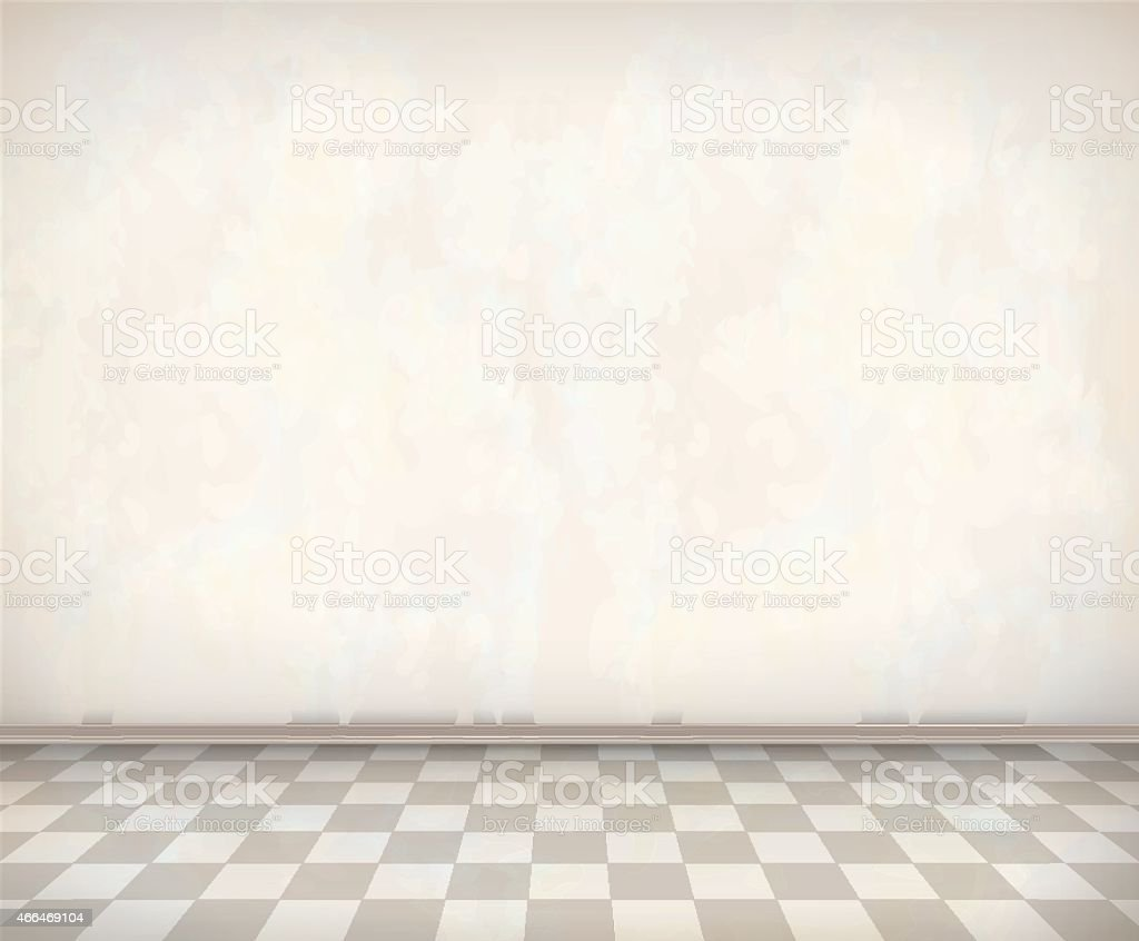 Empty Room White Wall Tile Floor vector art illustration