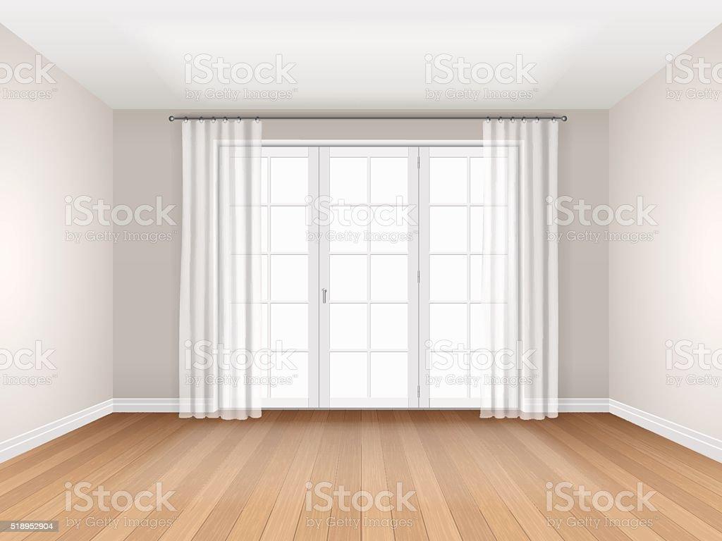 empty room with big window vector art illustration