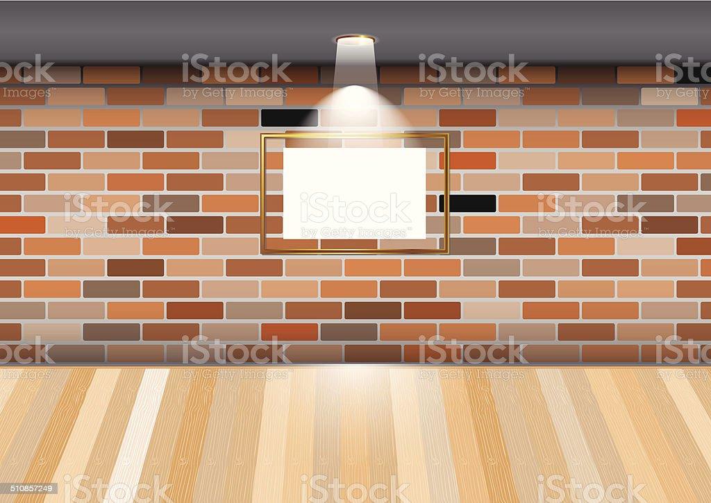 Salle vide avec un cadre vide sur mur de briques stock vecteur libres de droits libre de droits