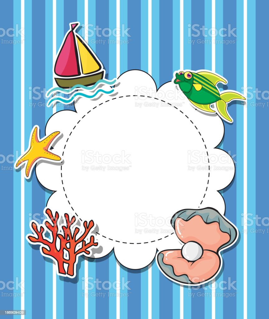 empty round template with sea creatures royalty-free stock vector art