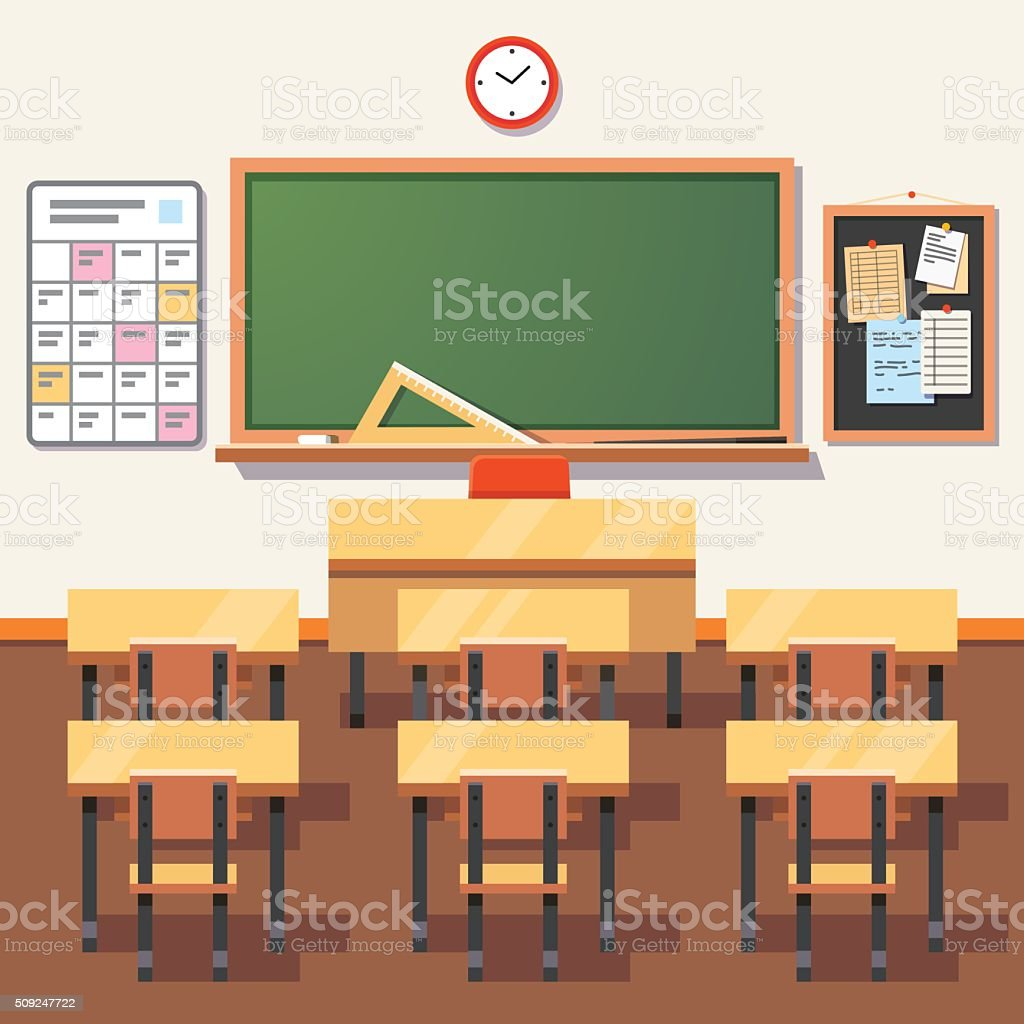 Empty school classroom with green chalkboard vector art illustration