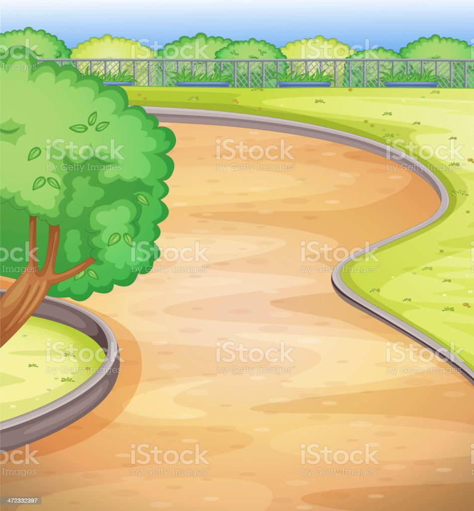 Empty schoolyard vector art illustration