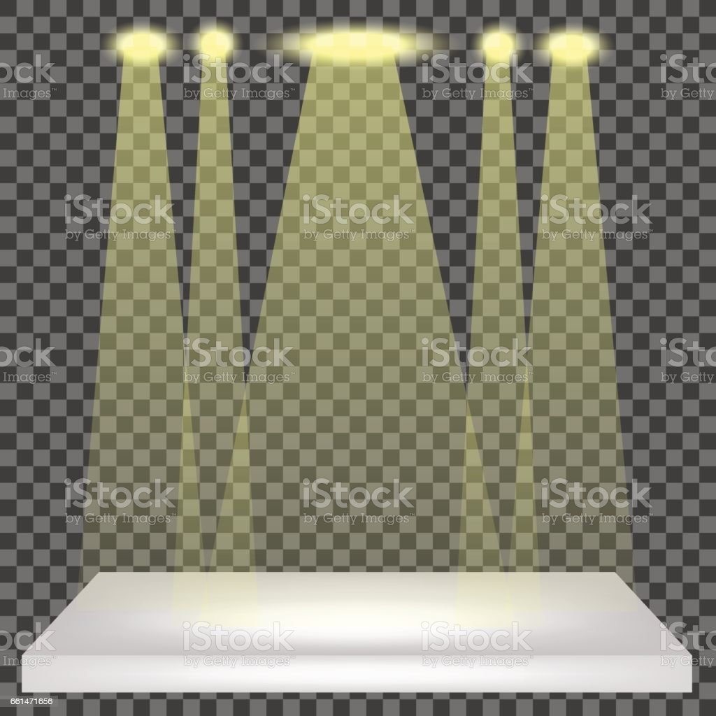 Empty Shelf Isolated. Spotlights Set vector art illustration