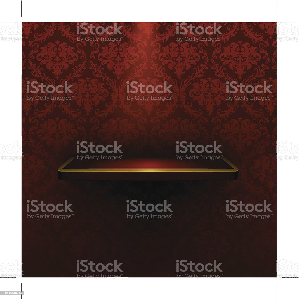 Empty shelf, red luxury royalty-free stock vector art
