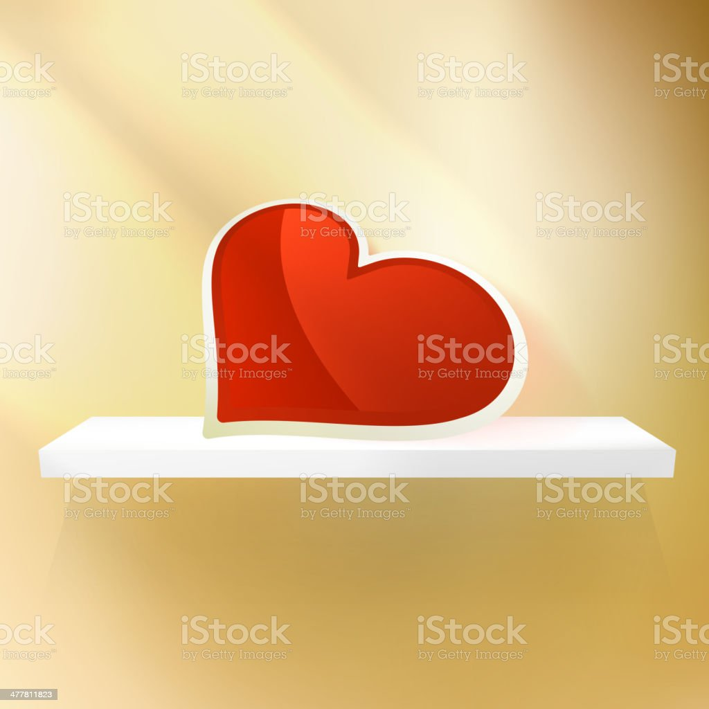 Empty shelf with red heart. royalty-free stock vector art
