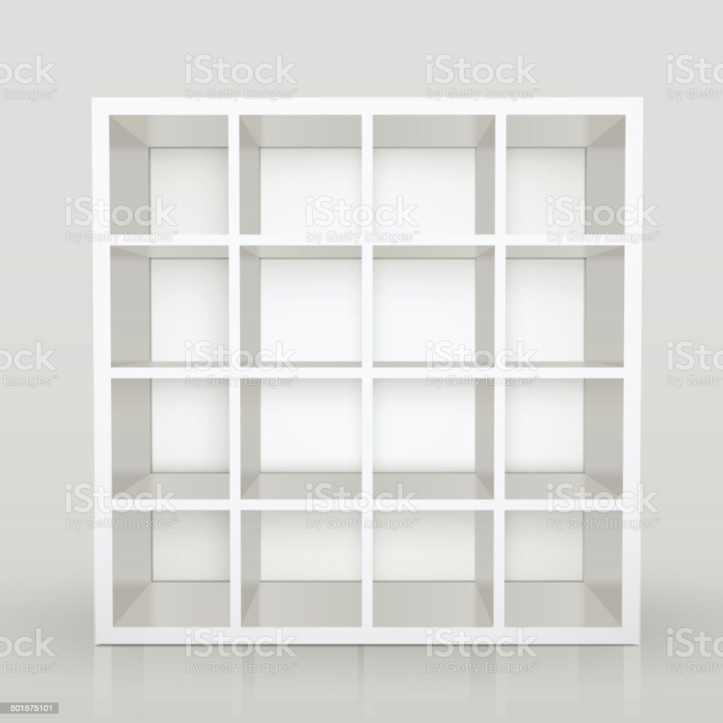 empty shelves, blank bookcase library vector art illustration