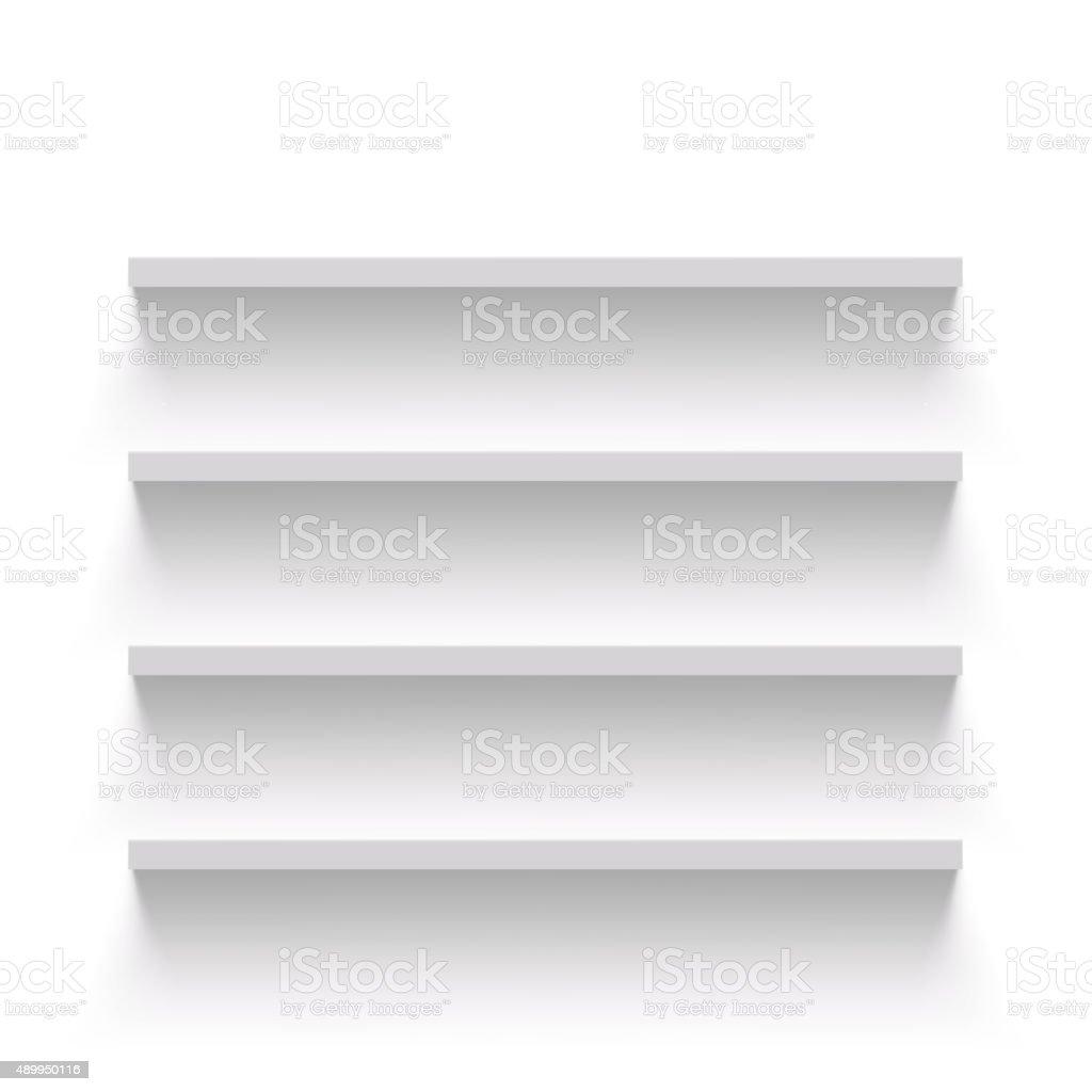 Empty shelves vector art illustration