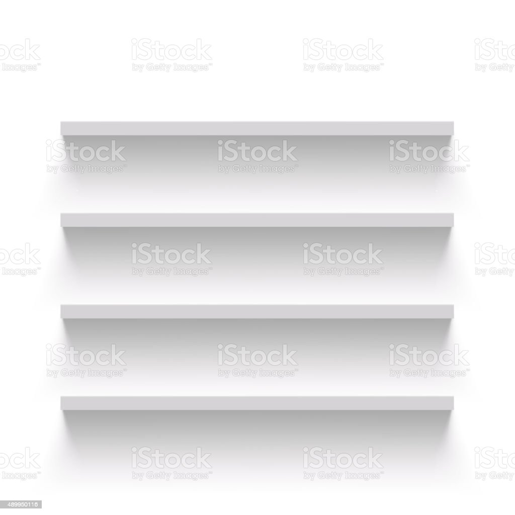 Empty shelves vector art illustration