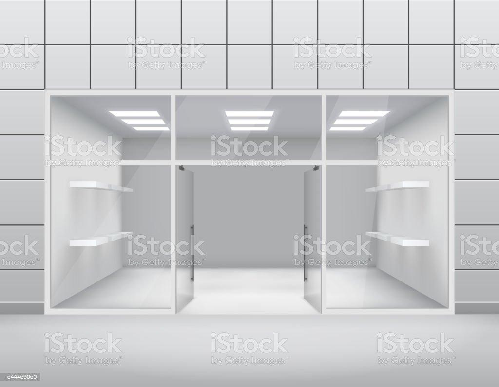Empty shop front boutique window and open door 3d template vector art illustration
