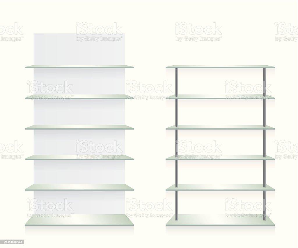 Empty shop glass shelves vector art illustration