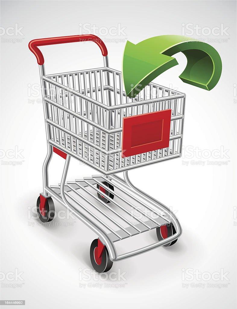 empty shopping cart with green arrow royalty-free stock vector art