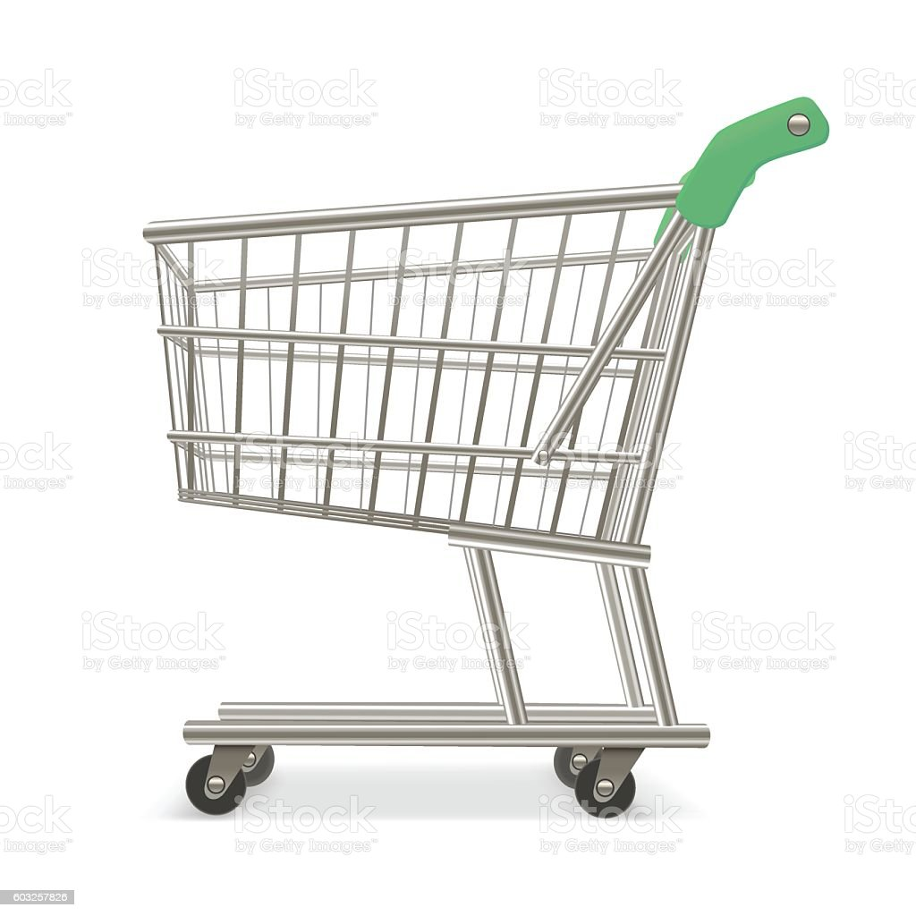 Empty Shopping Supermarket Cart. Business Retail Equipment. Vector vector art illustration