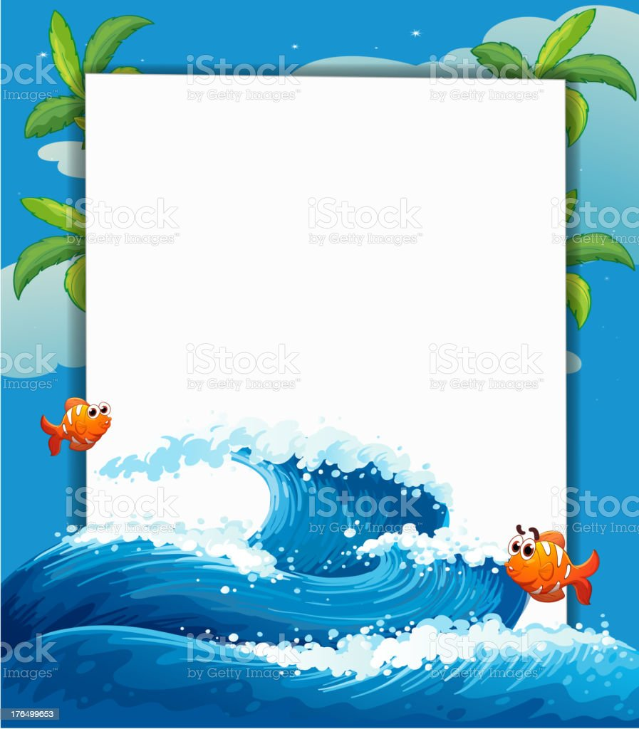 Empty signage along with the big wave and fishes royalty-free stock vector art