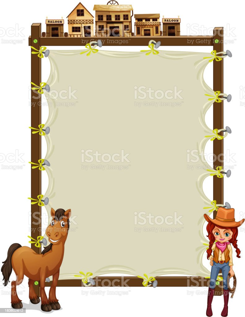 empty signage with  cowgirl and a horse vector art illustration