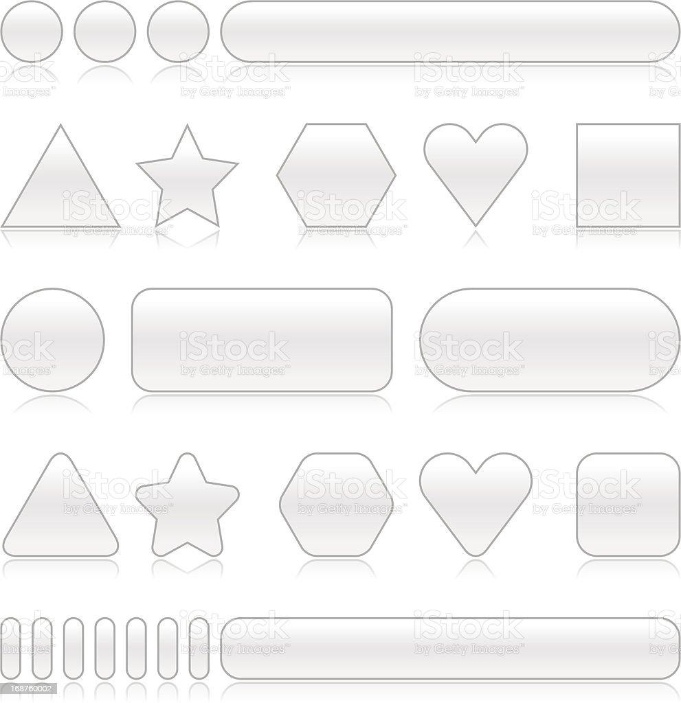 Empty silver gray web button set reflection royalty-free stock vector art