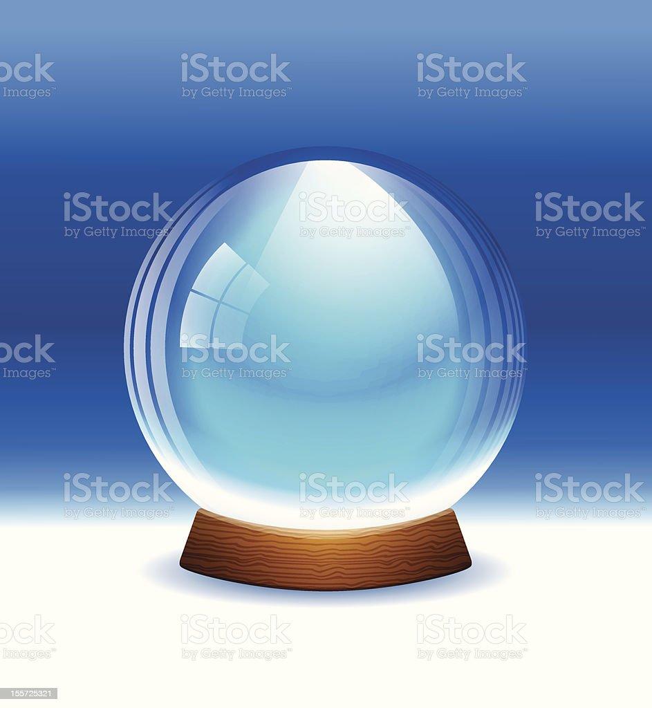 Empty snow globe with wooden base vector art illustration