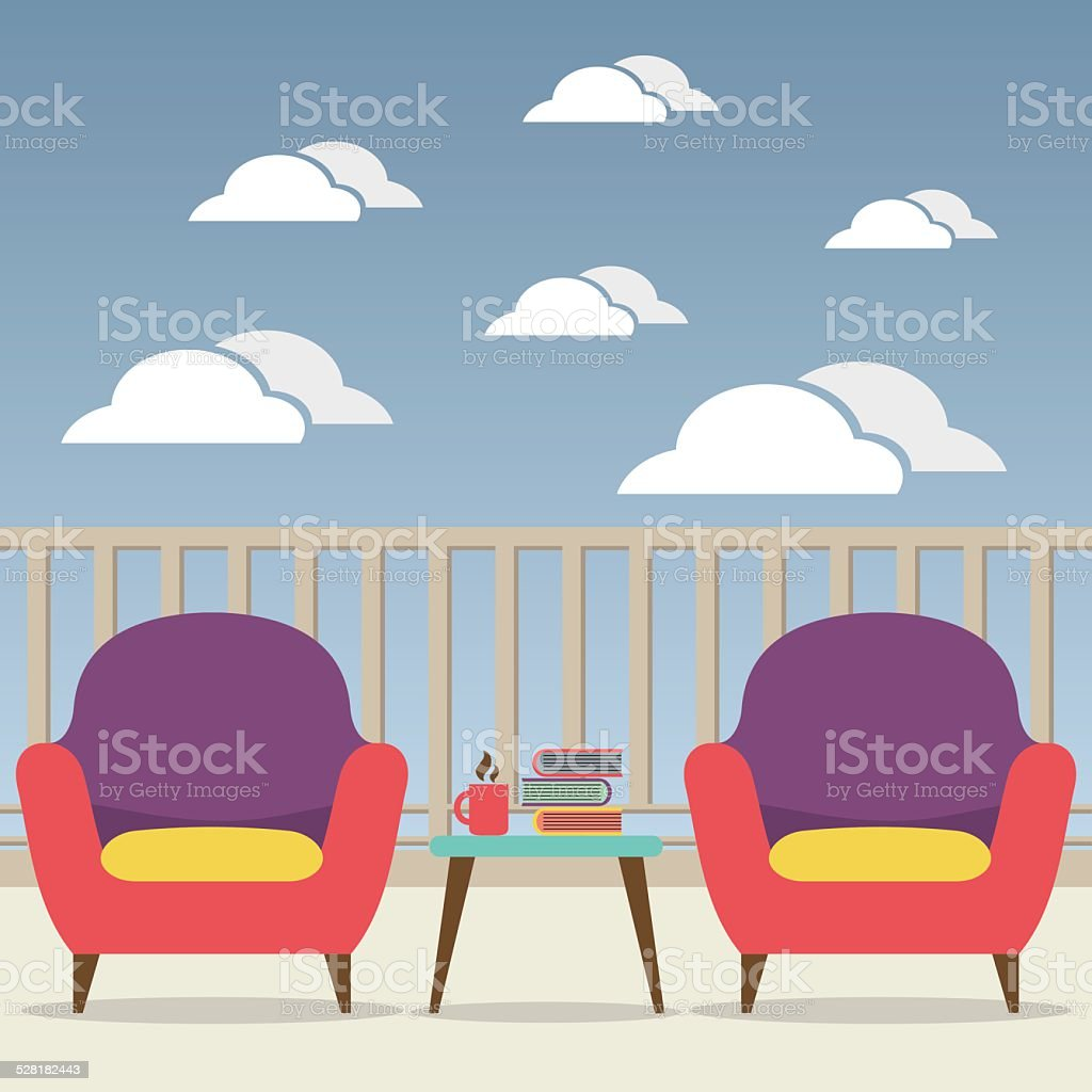 Empty Sofa Interior Set At Balcony vector art illustration