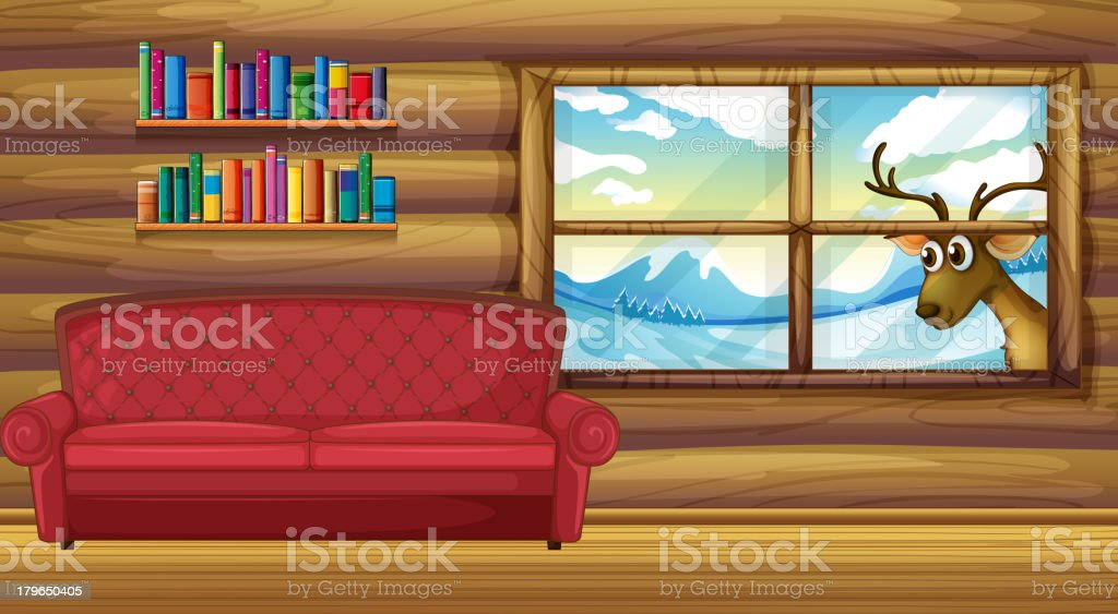 empty sofa with bookshelves at the back royalty-free stock vector art