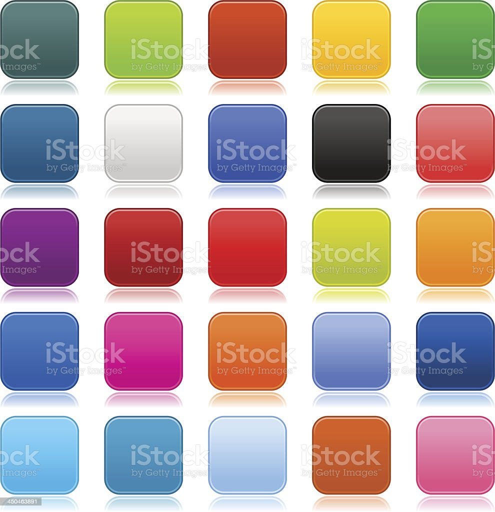 Empty softness rounded square icon web internet blank button vector art illustration