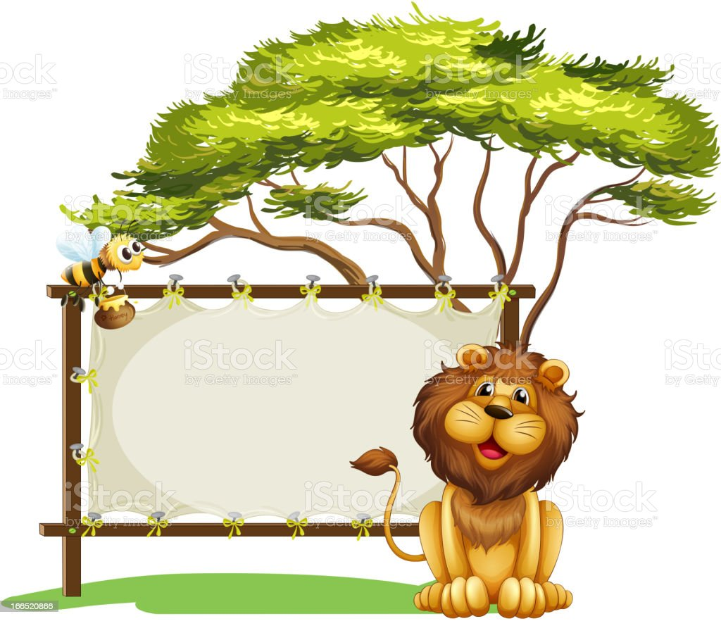 Empty space with lion and bee royalty-free stock vector art