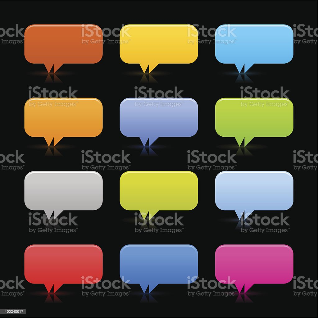 Empty speech bubble web internet icon shadow black background vector art illustration