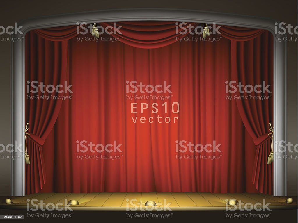 Empty stage with red curtain in expectation of performance EPS10 vector art illustration