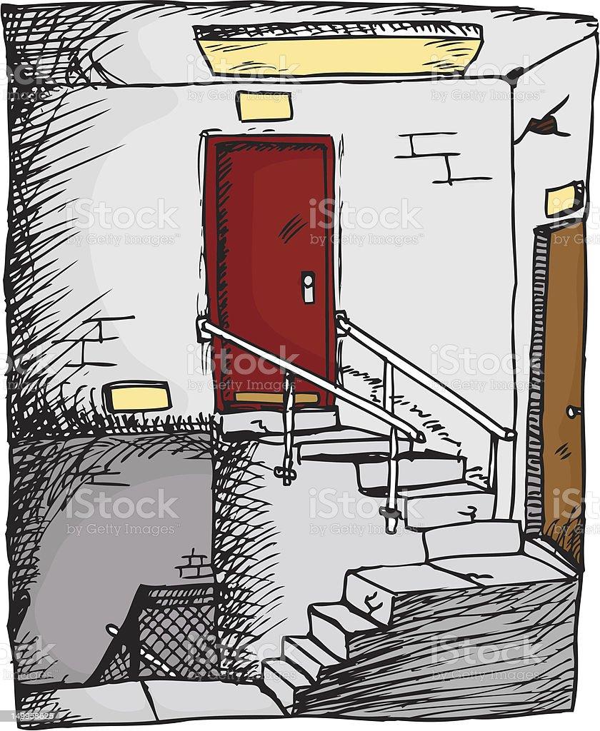 Empty Stairwell vector art illustration