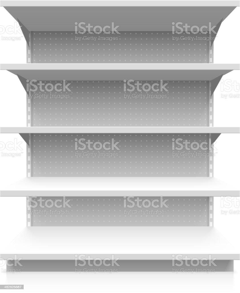 Empty supermarket shelf vector art illustration