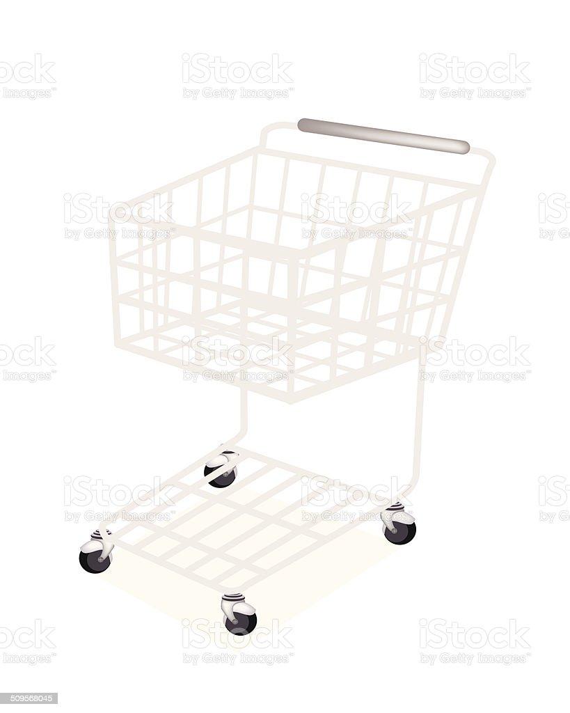 Empty Supermarket Shopping Cart on White Background vector art illustration