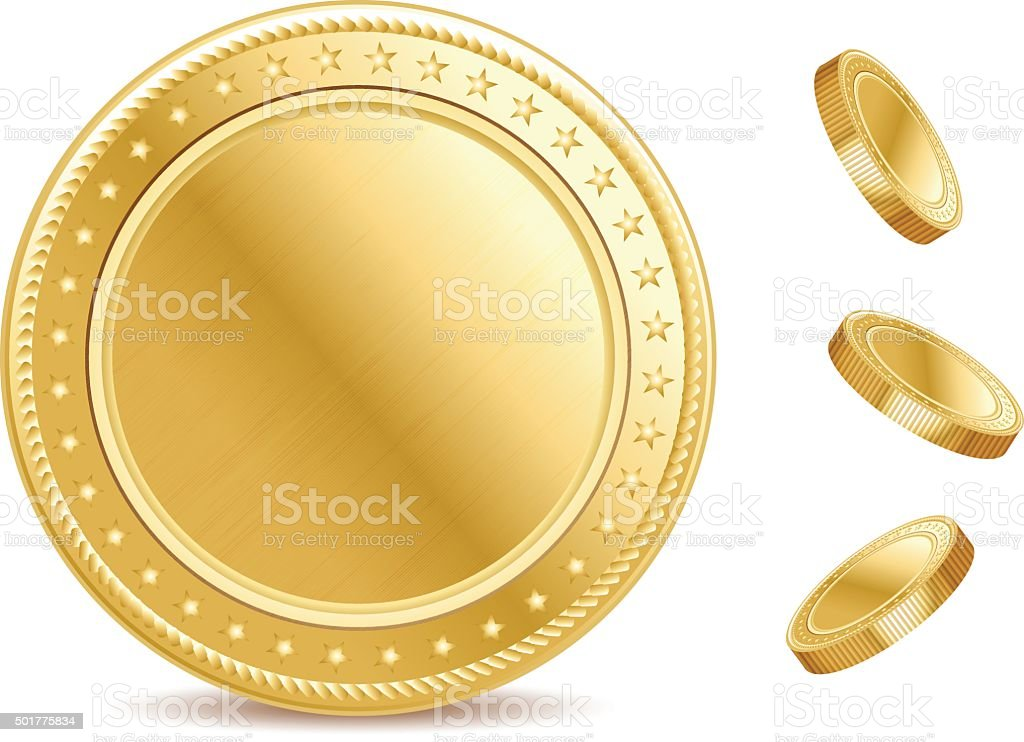 Empty surface of the golden finance isolated coin vector art illustration