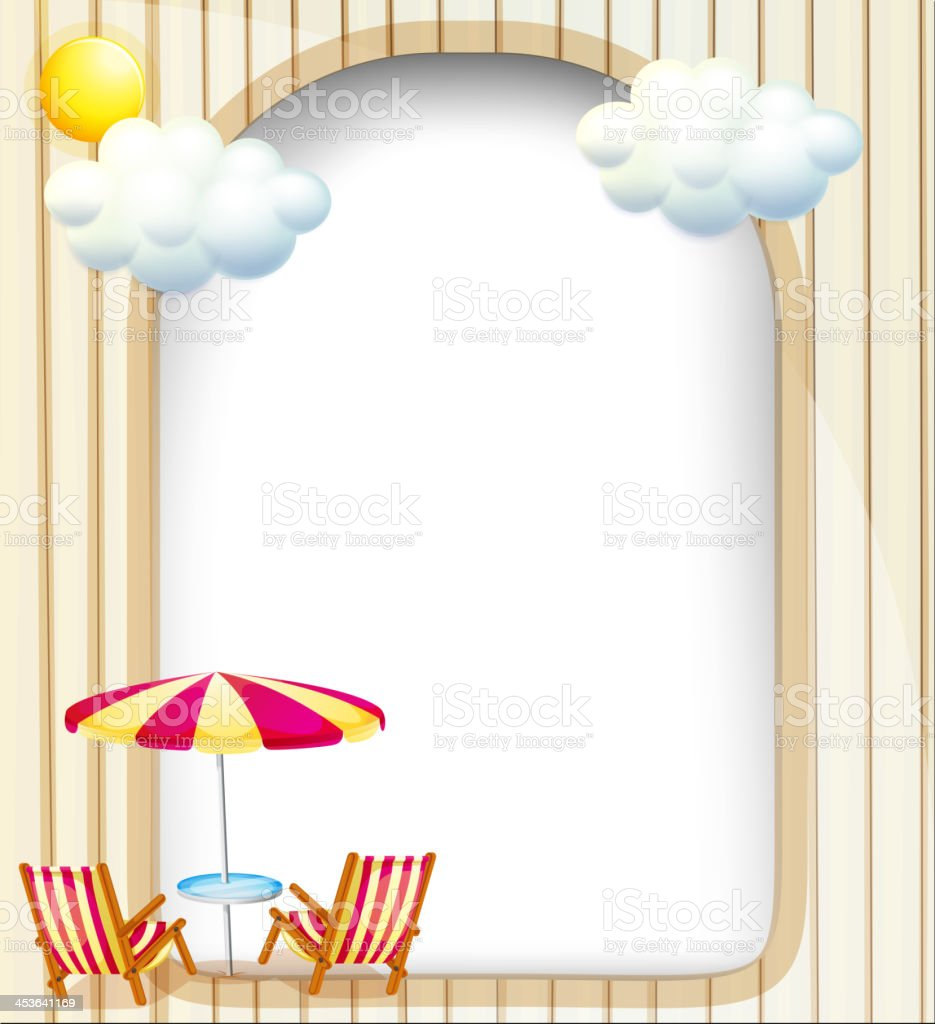 Empty surface with beach chairs and umbrella royalty-free stock vector art
