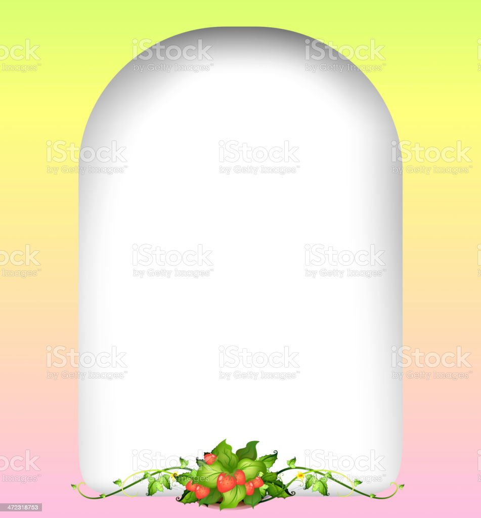 Empty surface with strawberry plant royalty-free stock vector art