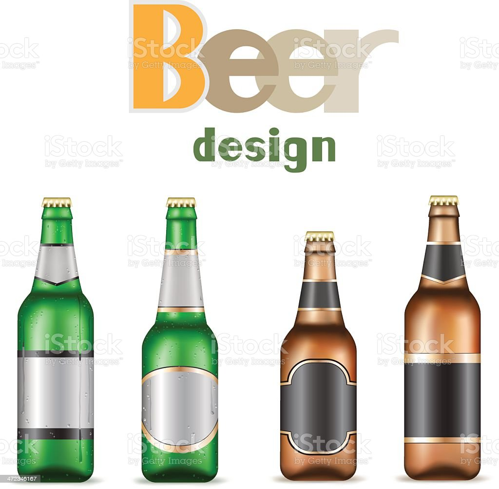 Empty template for beer bottle design royalty-free stock vector art