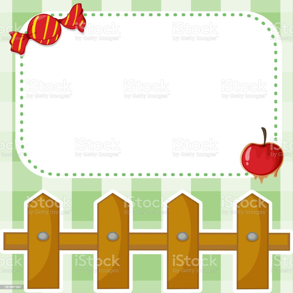 empty template with a candy and an apple royalty-free stock vector art