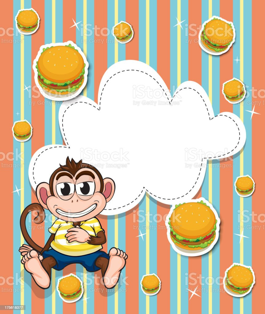 Empty template with a monkey and burgers royalty-free stock vector art
