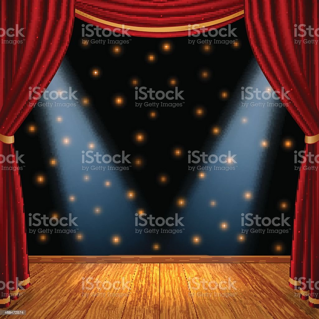 Empty theatrical scene stage vector art illustration