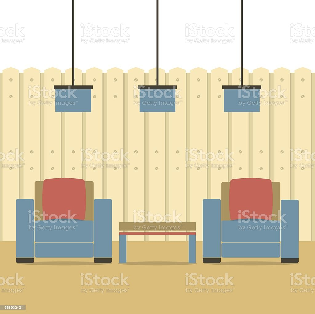 Empty Two Sofas With Ceiling Lamps vector art illustration