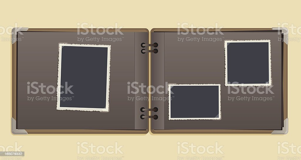 A empty vintage photo album on a beige background royalty-free stock vector art