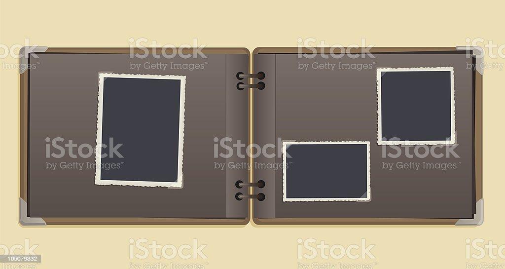 A empty vintage photo album on a beige background vector art illustration