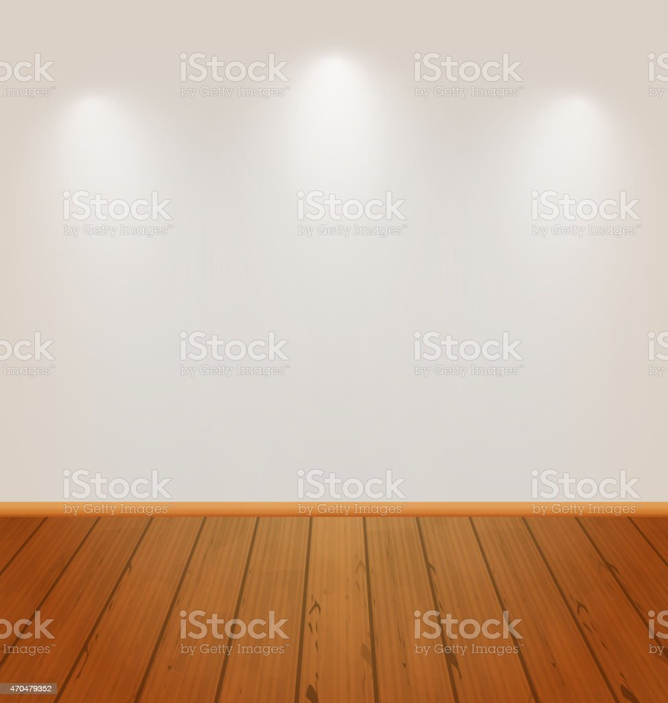 Empty wall with light and wooden floor vector art illustration