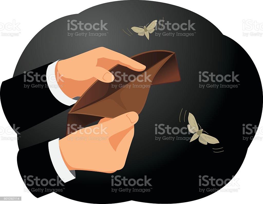 Empty wallet vector art illustration