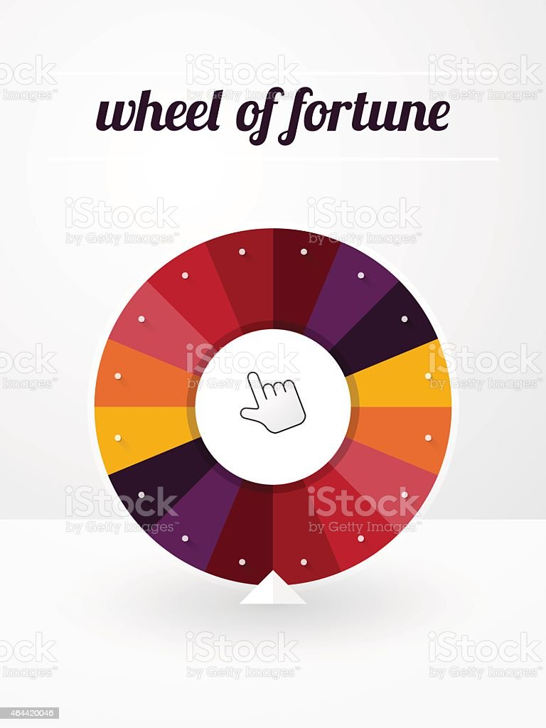 empty wheel of fortune with a pointer and label vector art illustration