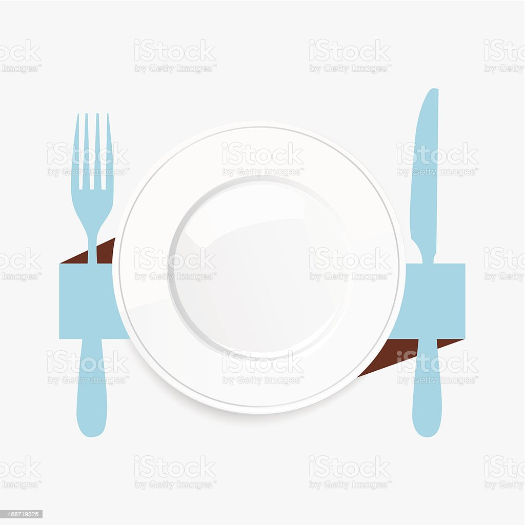Empty white plate with a blue knife and fork vector art illustration