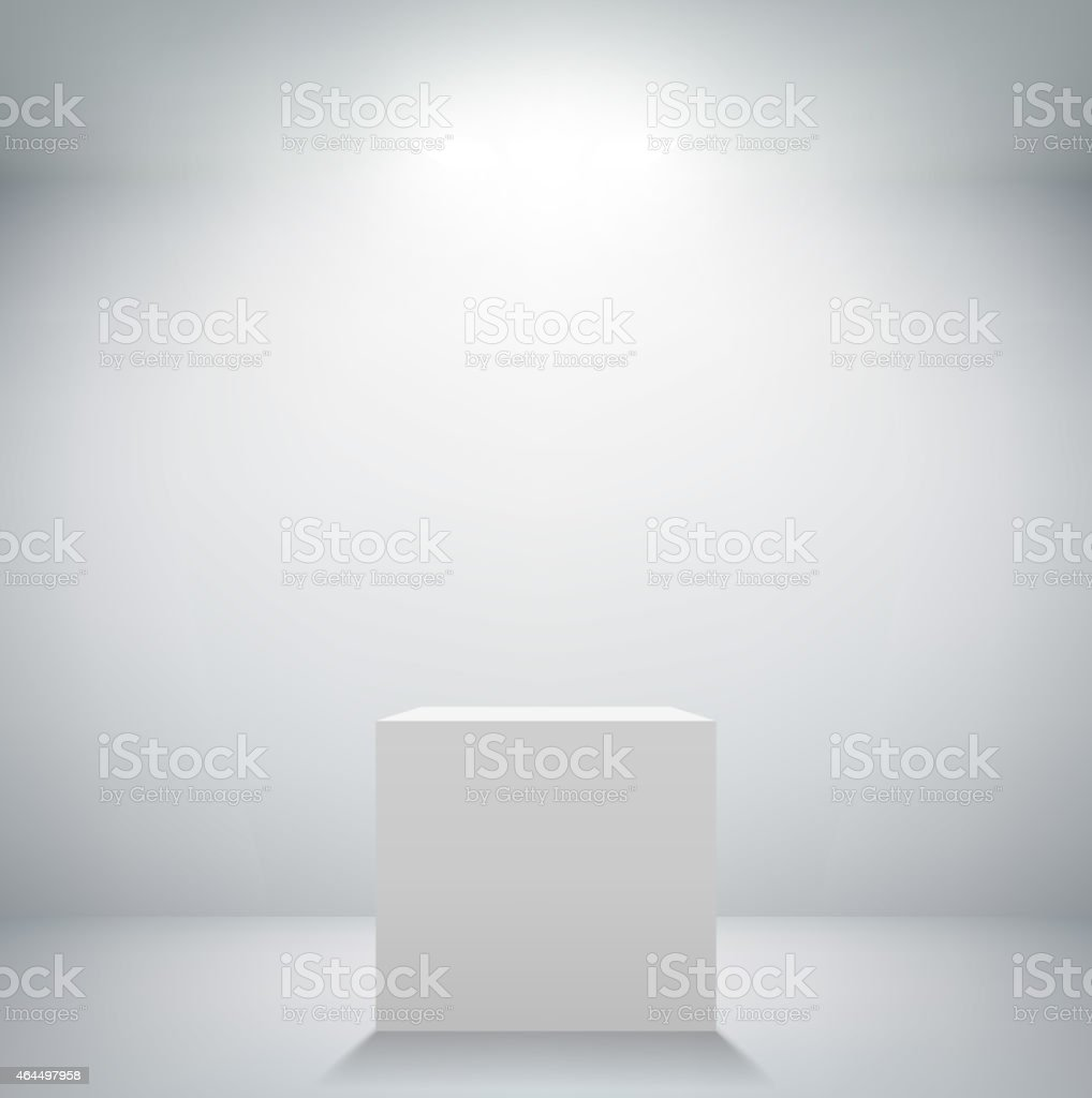 empty white room with a pedestal for presentation vector art illustration