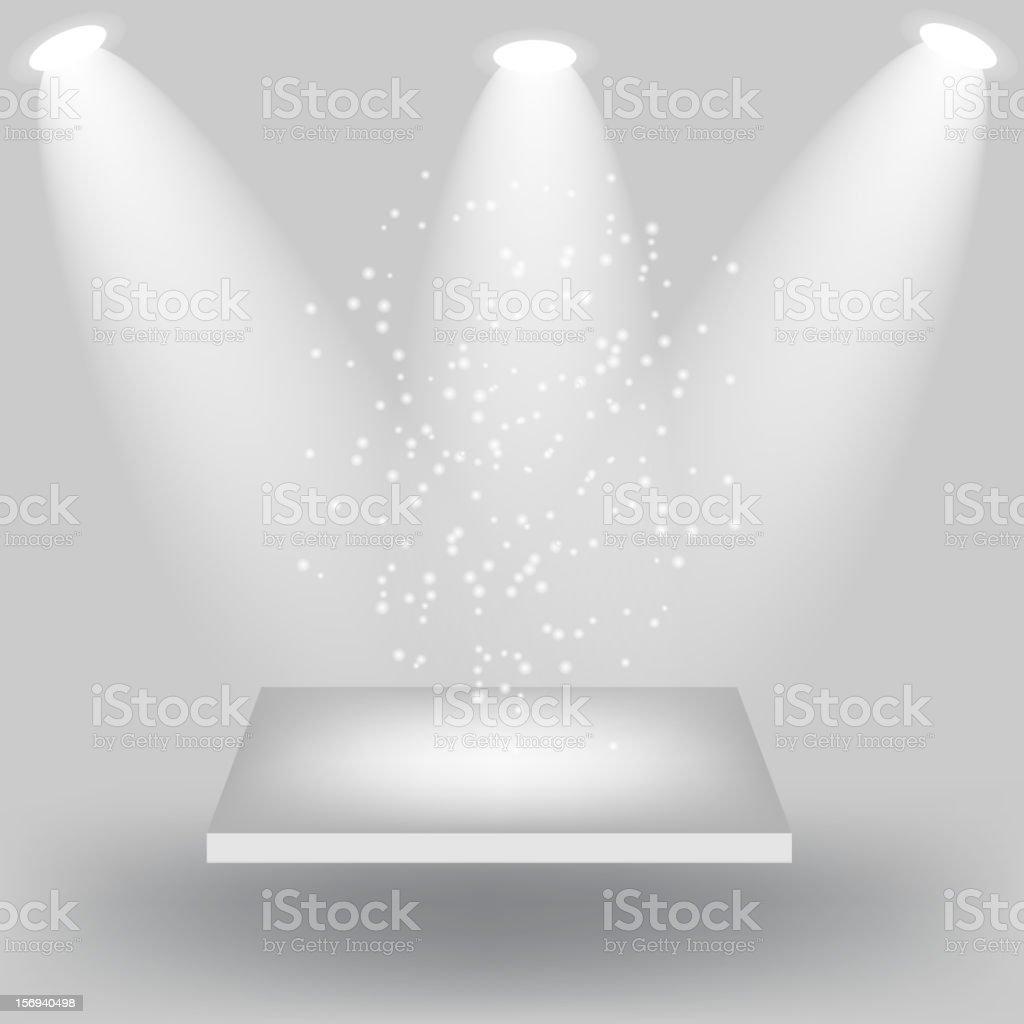 Empty white shelves on light grey background. Vector  illustration royalty-free stock vector art