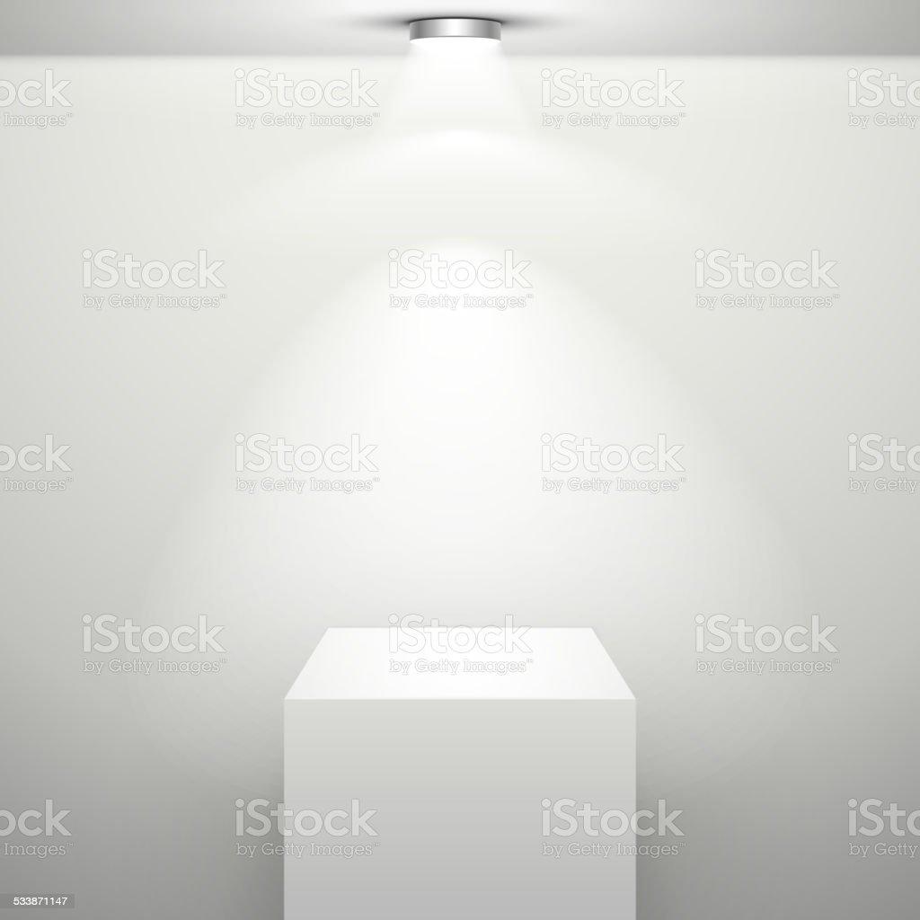 empty white stand with illumination vector art illustration