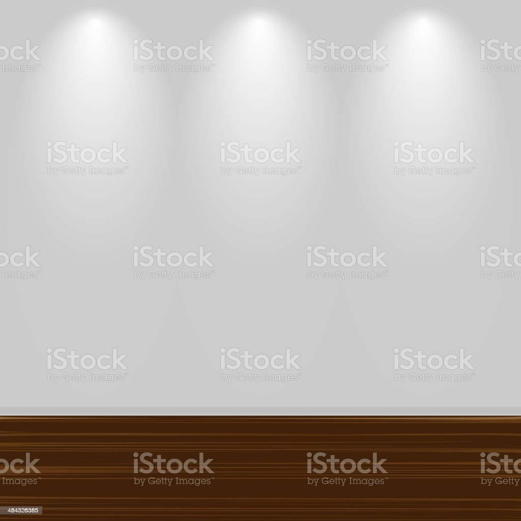 Empty White Wall With Wooden Floor vector art illustration